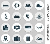 journey icons set with taxi ... | Shutterstock .eps vector #1019701024