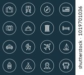 traveling icons line style set... | Shutterstock .eps vector #1019701036