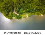 aerial view of a lake and... | Shutterstock . vector #1019703298