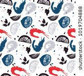 shrimp pattern. fish menu...   Shutterstock .eps vector #1019704888