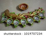beautiful wax lamp for diwali...   Shutterstock . vector #1019707234
