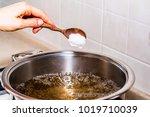 adding salt in boiling water ... | Shutterstock . vector #1019710039