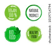 vegan round logos  badges. set... | Shutterstock .eps vector #1019714794