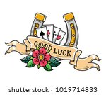 tattoo horseshoe  ribbon ... | Shutterstock .eps vector #1019714833