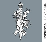 vector tattoo dagger with... | Shutterstock .eps vector #1019714836