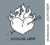 tattoo flaming heart pierced by ... | Shutterstock .eps vector #1019714839