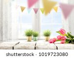 table background of easter time ... | Shutterstock . vector #1019723080