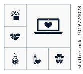 vector set of love icons.... | Shutterstock .eps vector #1019724028