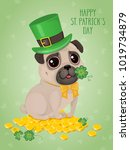 saint patricks day card with a... | Shutterstock .eps vector #1019734879