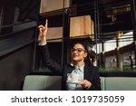 elegant businesswoman calling... | Shutterstock . vector #1019735059