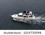 luxury cabin cruiser speeding...   Shutterstock . vector #1019735098