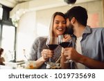 young attractive couple... | Shutterstock . vector #1019735698