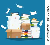 pile of paper documents and... | Shutterstock .eps vector #1019740270
