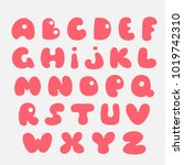 cute hand drawn alphabet.... | Shutterstock .eps vector #1019742310