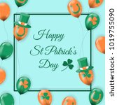 happy st patrick's day card... | Shutterstock .eps vector #1019755090