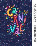 vector hand drawn carnaval... | Shutterstock .eps vector #1019770480