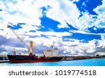 view on container ship in the... | Shutterstock . vector #1019774518