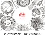 asian cuisine sketch collection.... | Shutterstock .eps vector #1019785006