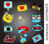 fashion patch badges with lips  ... | Shutterstock .eps vector #1019786470