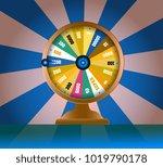 spinning fortune wheel  lucky... | Shutterstock .eps vector #1019790178