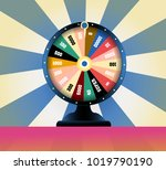 spinning fortune wheel  lucky...   Shutterstock .eps vector #1019790190
