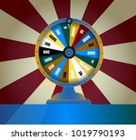 spinning fortune wheel  lucky... | Shutterstock .eps vector #1019790193