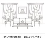 living room interior. linear... | Shutterstock .eps vector #1019797459