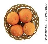 orange in basket on white...   Shutterstock . vector #1019801830