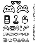 geek pixel art set gamepad and... | Shutterstock .eps vector #1019802913