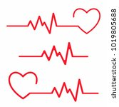 set of cardiogram design... | Shutterstock .eps vector #1019805688