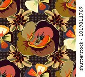 vintage multicolored floral... | Shutterstock .eps vector #1019811769