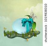 easter illustration with egg ...   Shutterstock . vector #1019838310