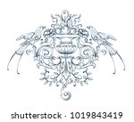 floral decorative vector... | Shutterstock .eps vector #1019843419