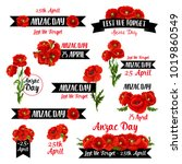 anzac day badge set of red... | Shutterstock .eps vector #1019860549