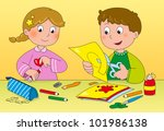 boy and girl playing with paper ... | Shutterstock . vector #101986138