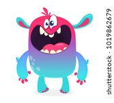 cute furry blue monster. vector ... | Shutterstock .eps vector #1019862679