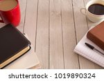 bible study and a cup of coffee ... | Shutterstock . vector #1019890324
