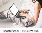 woman using digital labtop...   Shutterstock . vector #1019895658