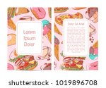 street food menu cover with... | Shutterstock .eps vector #1019896708