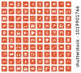 100 multimedia icons set in... | Shutterstock .eps vector #1019901766