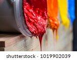 red color of plastisol ink... | Shutterstock . vector #1019902039