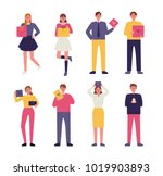 happy people character holding... | Shutterstock .eps vector #1019903893