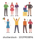 birthday party characters. ... | Shutterstock .eps vector #1019903896