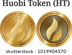 set of physical golden coin...   Shutterstock .eps vector #1019904370