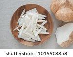 raw jicama  mexican turnip ... | Shutterstock . vector #1019908858
