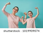 funny family on a background of ... | Shutterstock . vector #1019909074