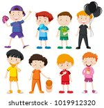 boys in different color shirts... | Shutterstock .eps vector #1019912320