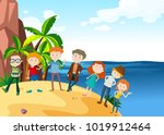 lots of people on the island... | Shutterstock .eps vector #1019912464