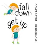 opposite words for fall down... | Shutterstock .eps vector #1019912470