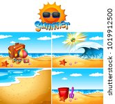 background scenes with beach... | Shutterstock .eps vector #1019912500